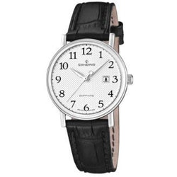 Candino Women's Quartz Watch with Silver Dial Analogue Display and Black Leather Strap C4488/1
