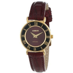Jowissa Women's J2.043.S Roma 24 mm Gold PVD Maroon Dial Roman Numeral Leather Watch