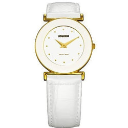 Jowissa Women's J3.019.M Elegance 30 mm Gold PVD White Leather Watch