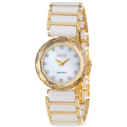 Jowissa Women's J1.009.S Safira 99 Gold-Tone and White Ceramic Bracelet Watch