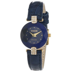 Jowissa Women's J5.011.S Facet Strass Gold PVD Dimensional Glass Blue Leather Rhinestone Watch