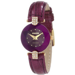 Jowissa Women's J5.015.S Facet Strass Gold PVD Dimensional Glass Purple Leather Rhinestone Watch