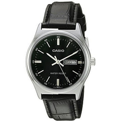 Casio #MTP-V003L-1A Men's Standard Analog Leather Band Black Dial Day Date Watch
