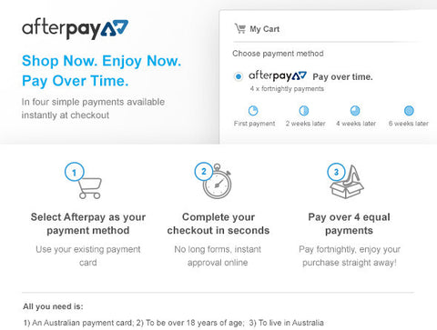 Pay with Afterpay for purchases made with Wild Earth Eco