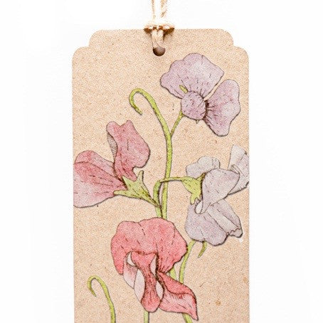 Recycled Sweet Pea Gift Tag