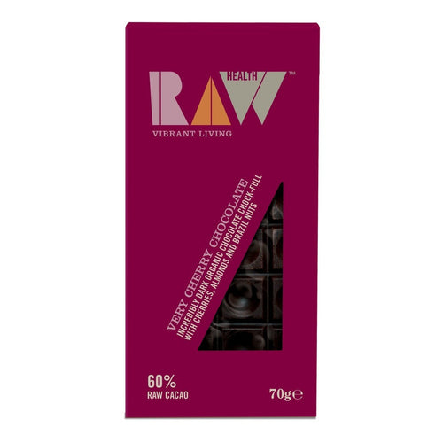 Very Cherry Dark Raw Chocolate 60% Cocoa 70g - honearthly