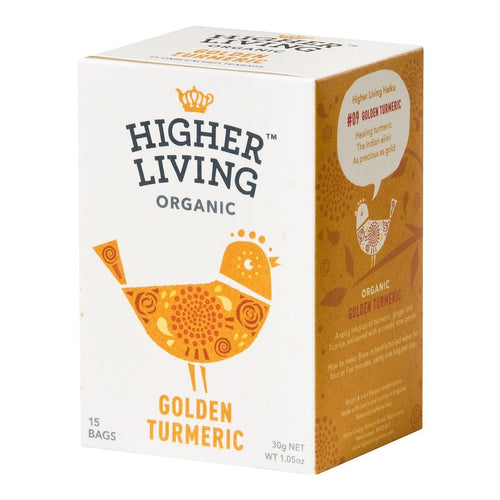Higher Living  Golden Turmeric Organic Tea 15 Bags - honearthly