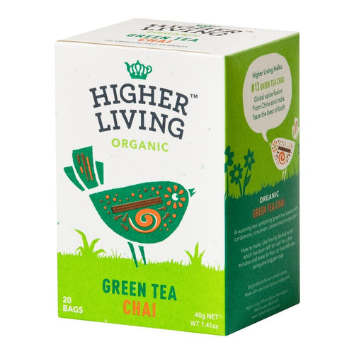 Higher Living  Green Chai Organic Tea 20 Bags x 4 - honearthly