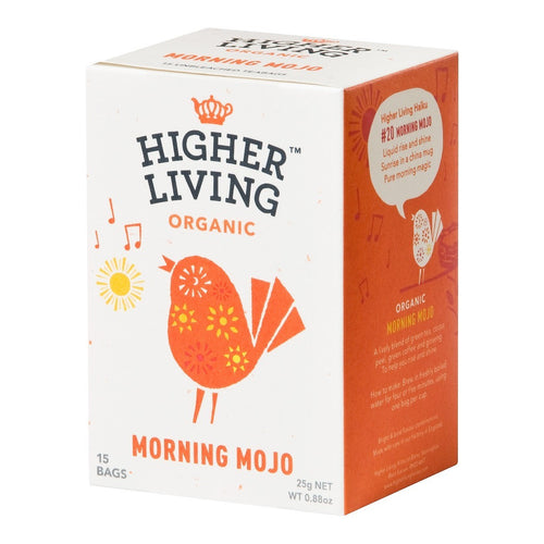 Higher Living  Morning Mojo Organic Tea 15 Envelopes - honearthly