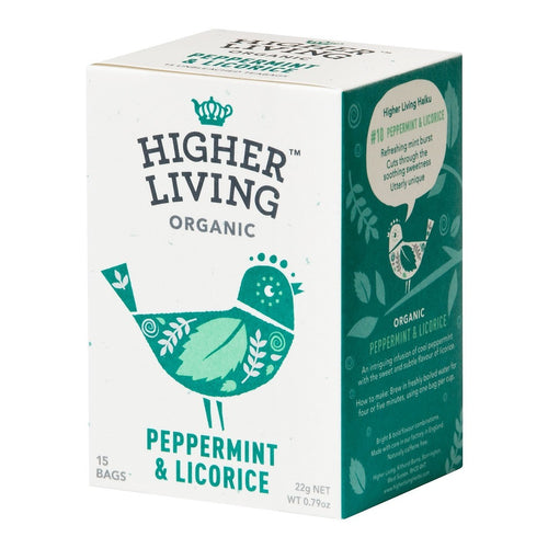 Higher Living  Peppermint & Licorice Organic Tea 15 Bags - honearthly