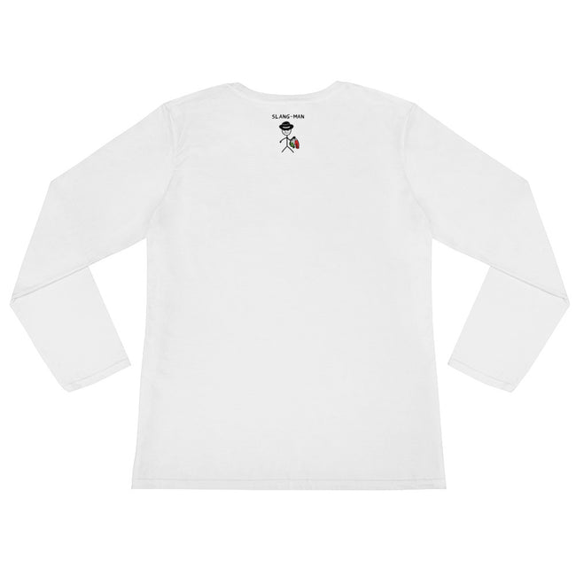 Rose Pocket White Ladies' Long Sleeve T-Shirt