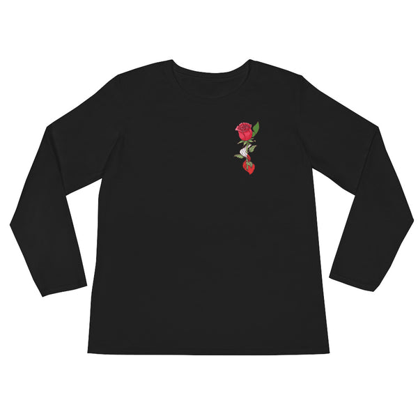 Rose Pocket Black Ladies' Long Sleeve T-Shirt