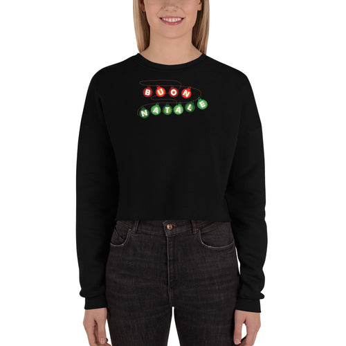 Buon Natale Lights Women Crop Sweatshirt