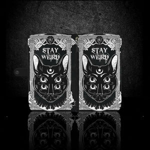 4 eyed gothic cat wallet phone case - Diva & noel