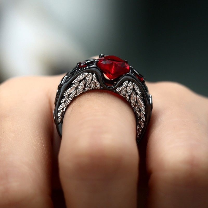 Women Heart Angel Wing Ring - Diva & noel