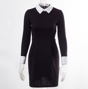Black Gothic White Collared Dress - Diva & noel