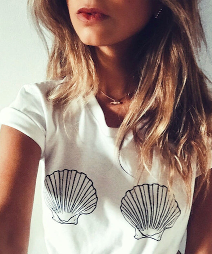 Sea Shell Bra T-Shirt | Sea Shell Boobs Shirt - Cuppa Tee Store