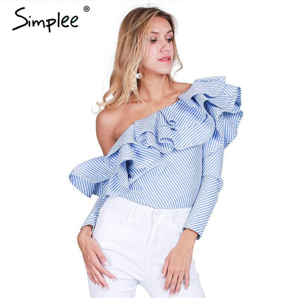 Simple One shoulder ruffles blouse