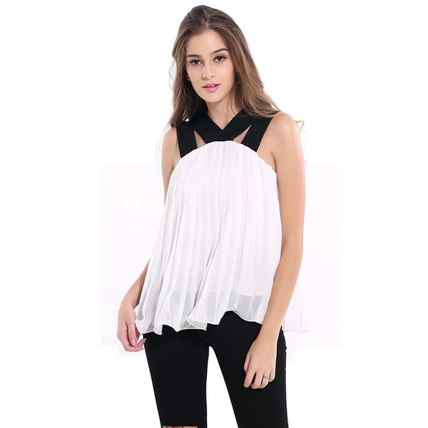 Summer Solid color sleeveless Blouse