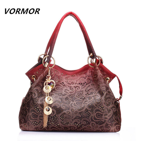 VORMOR Hollow Out Large Leather handbag