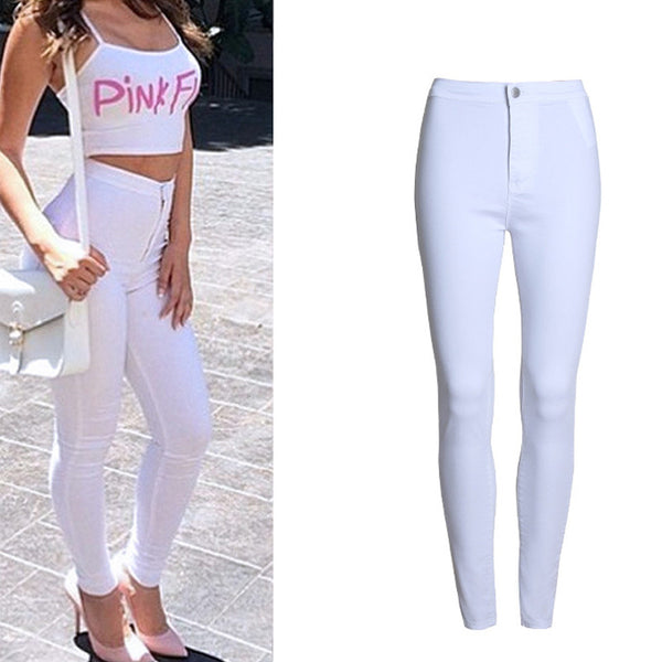 Thin white women's jeans