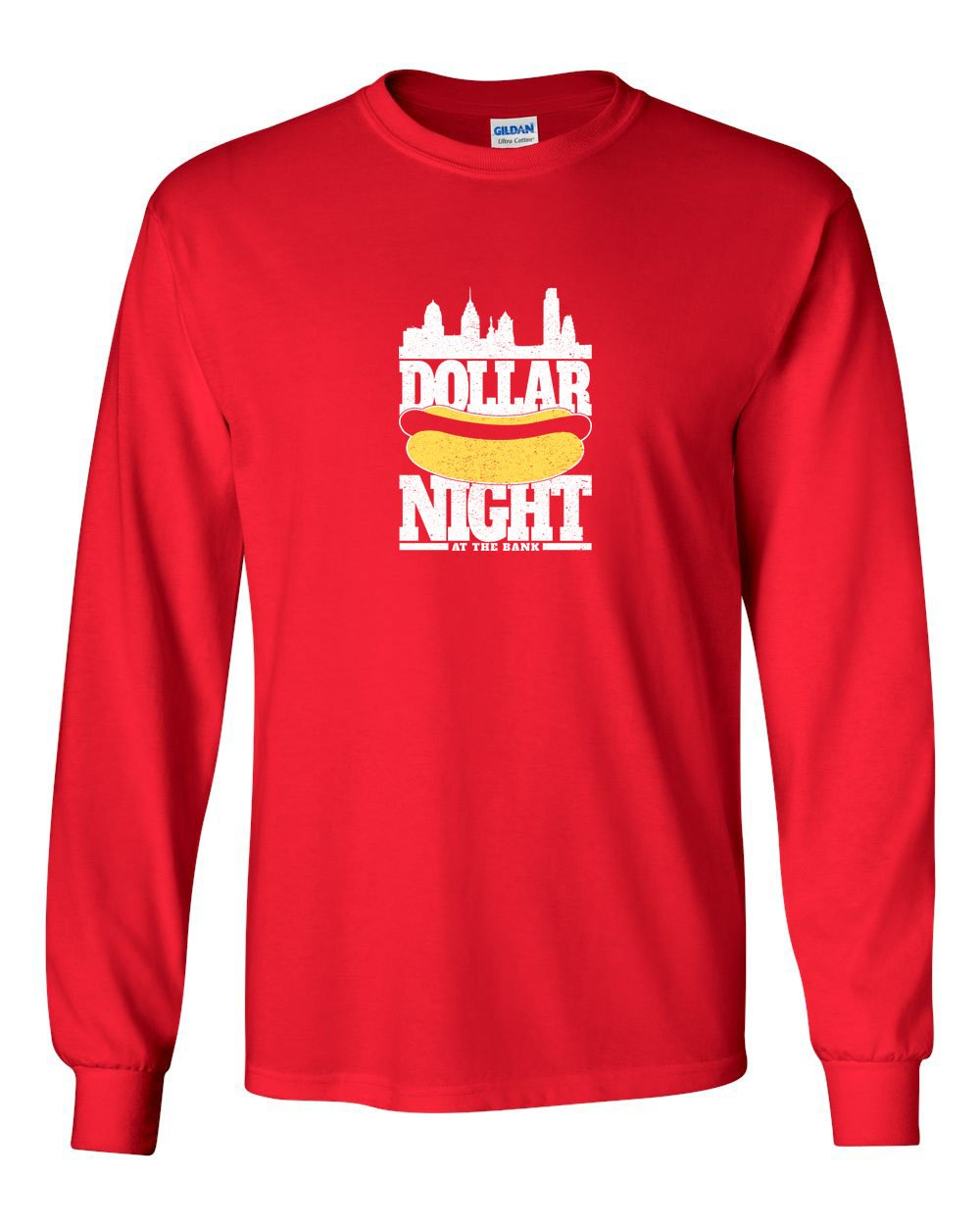 Dollar Dog Night MENS Long Sleeve Heavy Cotton T-Shirt