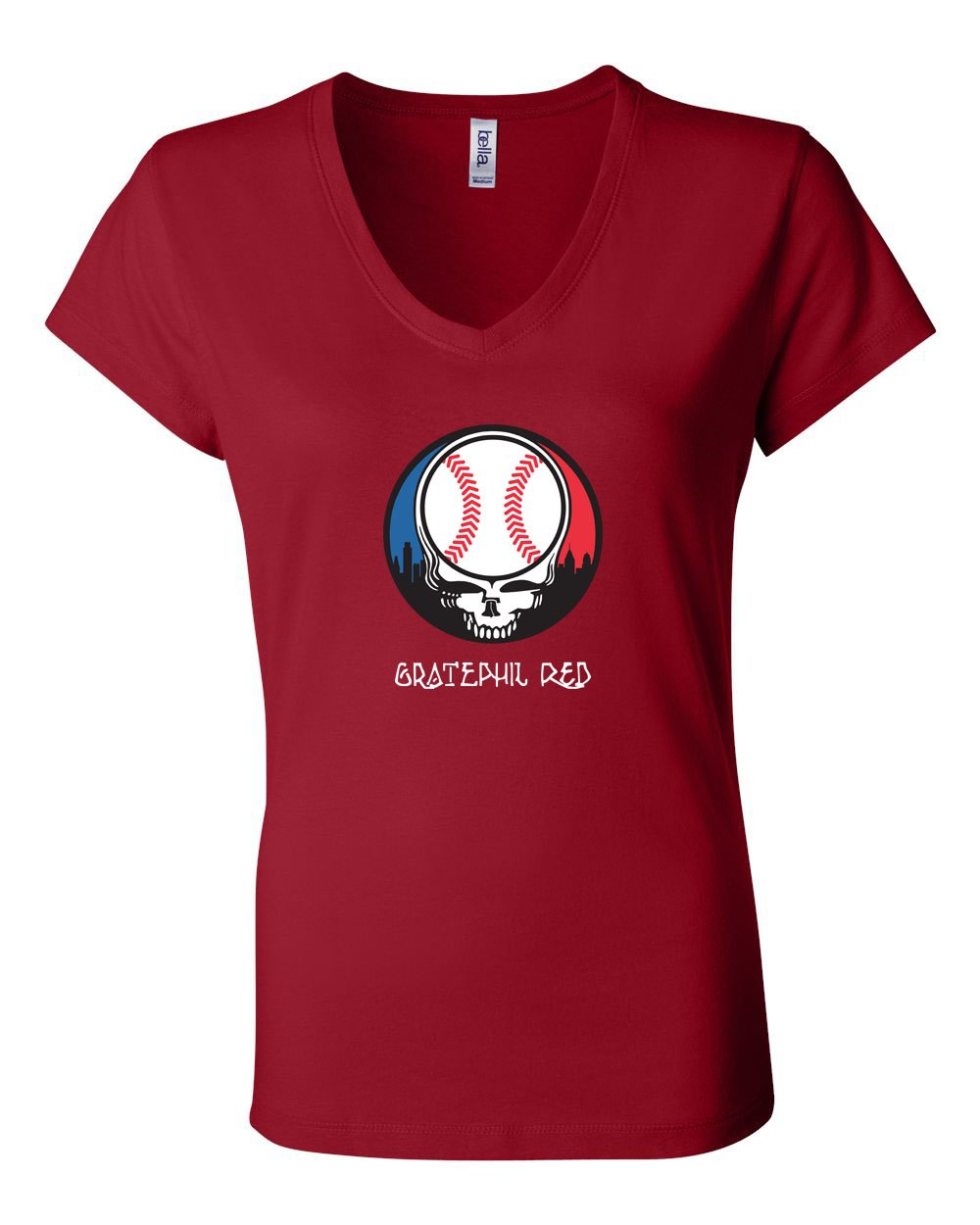 Gratephil Red LADIES Junior Fit V-Neck