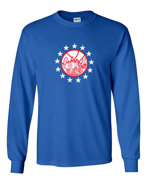 Philly B-Ball MENS Long Sleeve Heavy Cotton T-Shirt