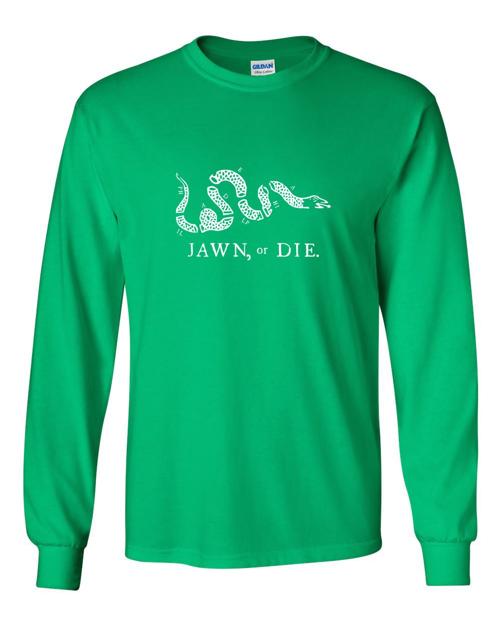 Jawn or Die White Ink MENS Long Sleeve Heavy Cotton T-Shirt