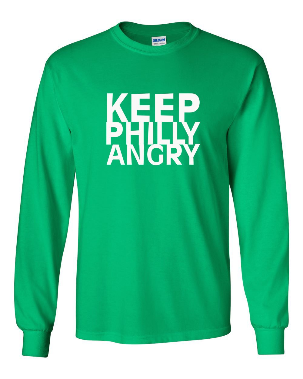 Keep Philly Angry White Ink MENS Long Sleeve Heavy Cotton T-Shirt