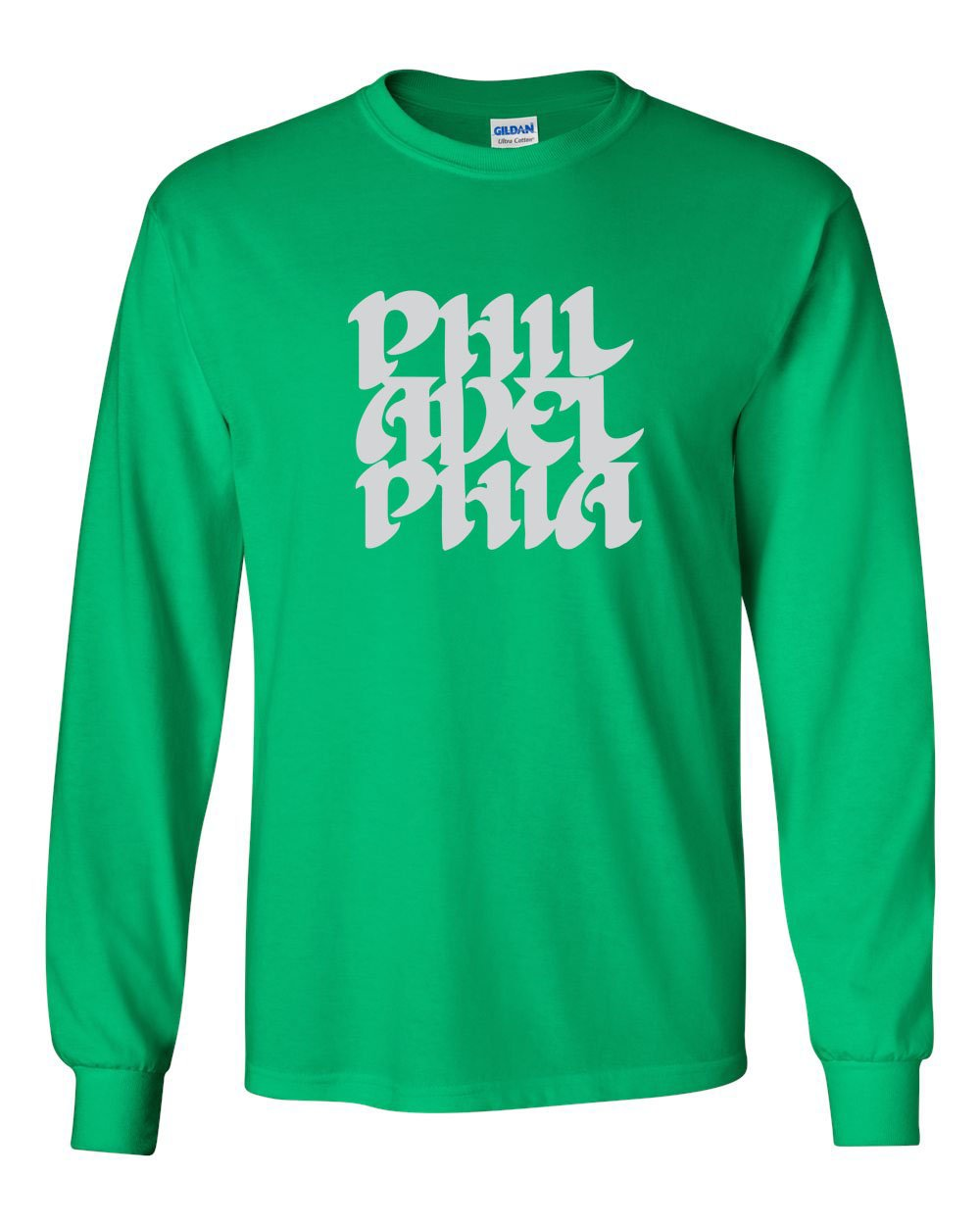 Vintage Philly Font MENS Long Sleeve Heavy Cotton T-Shirt