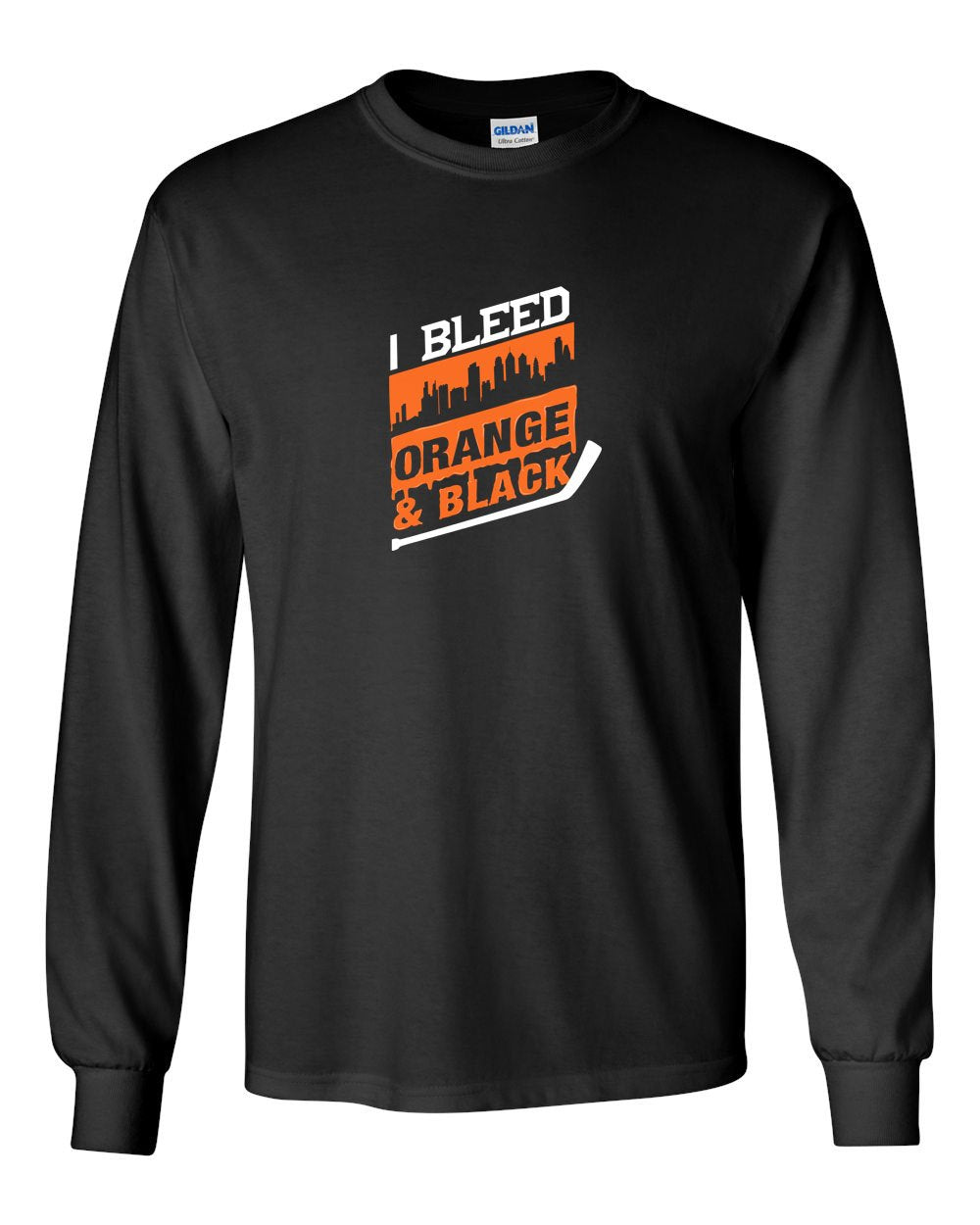 I Bleed Orange and Black MENS Long Sleeve Heavy Cotton T-Shirt
