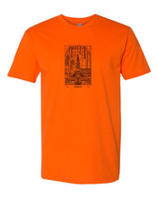 Philadelphia Skyline V2 (Black Ink On Orange) Mens/Unisex T-Shirt