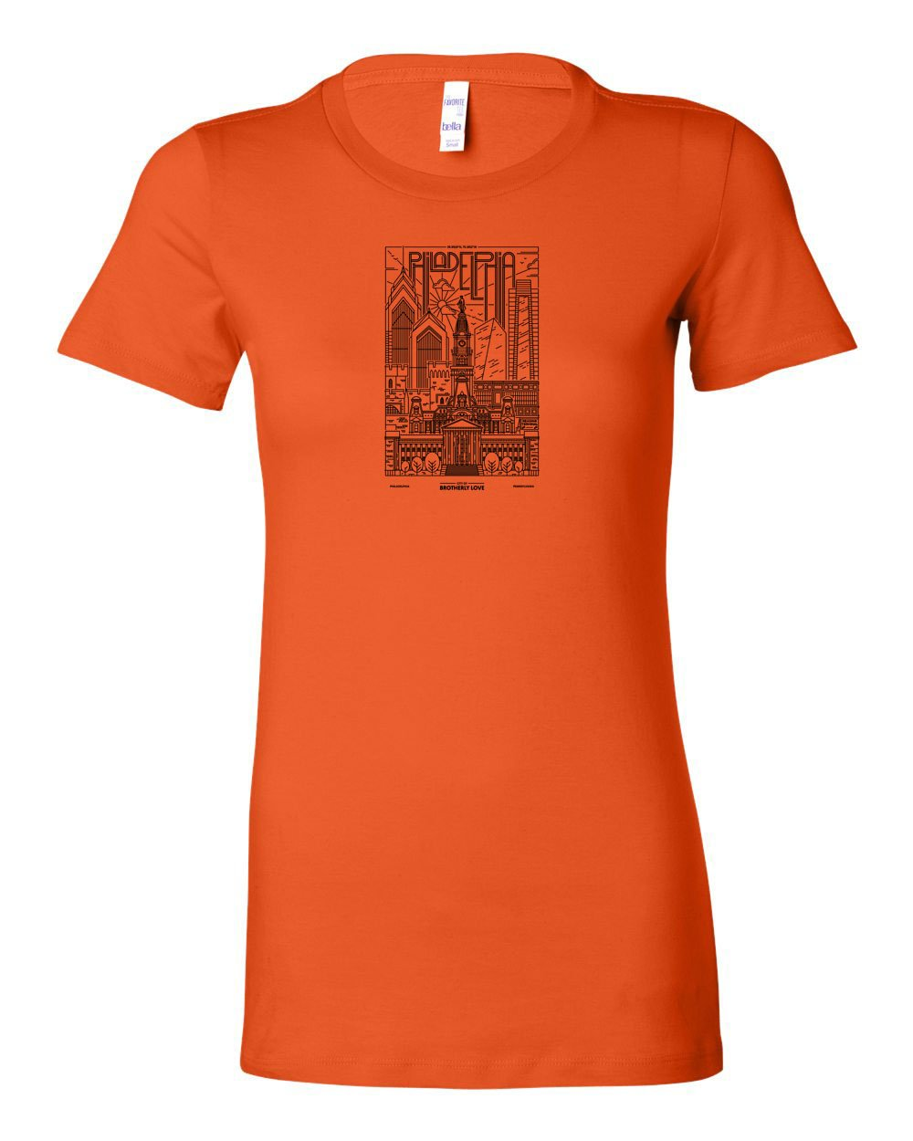 Philadelphia Skyline V2 (Black Ink On Orange) LADIES Junior-Fit T-Shirt