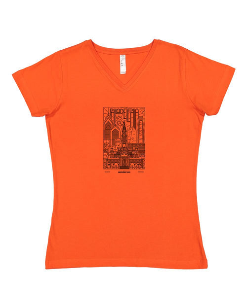 Philadelphia Skyline V2 (Black Ink On Orange) LADIES Junior Fit V-Neck