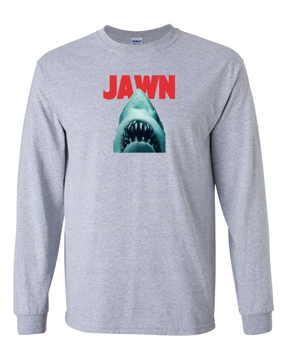 Jaws Jawn MENS Long Sleeve Heavy Cotton T-Shirt