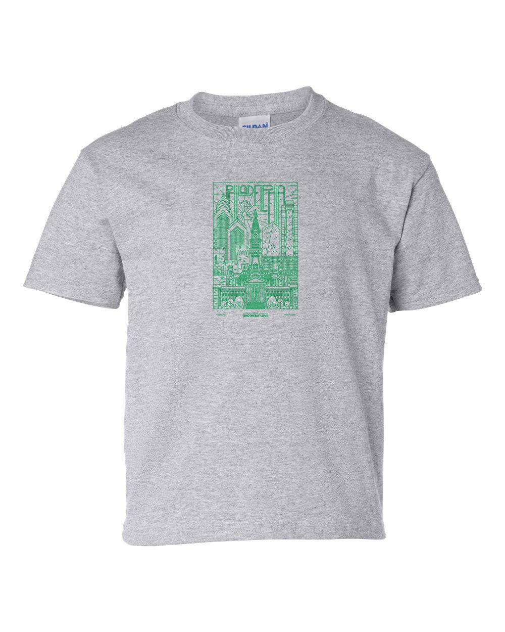 Philadelphia Skyline V2 (Green Ink) KIDS T-Shirt