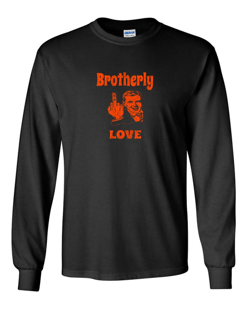 Brotherly Finger Orange Ink MENS Long Sleeve Heavy Cotton T-Shirt