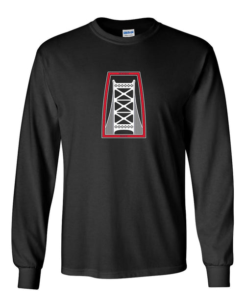 Ben Franklin Bridge Red & White Ink MENS Long Sleeve Heavy Cotton T-Shirt