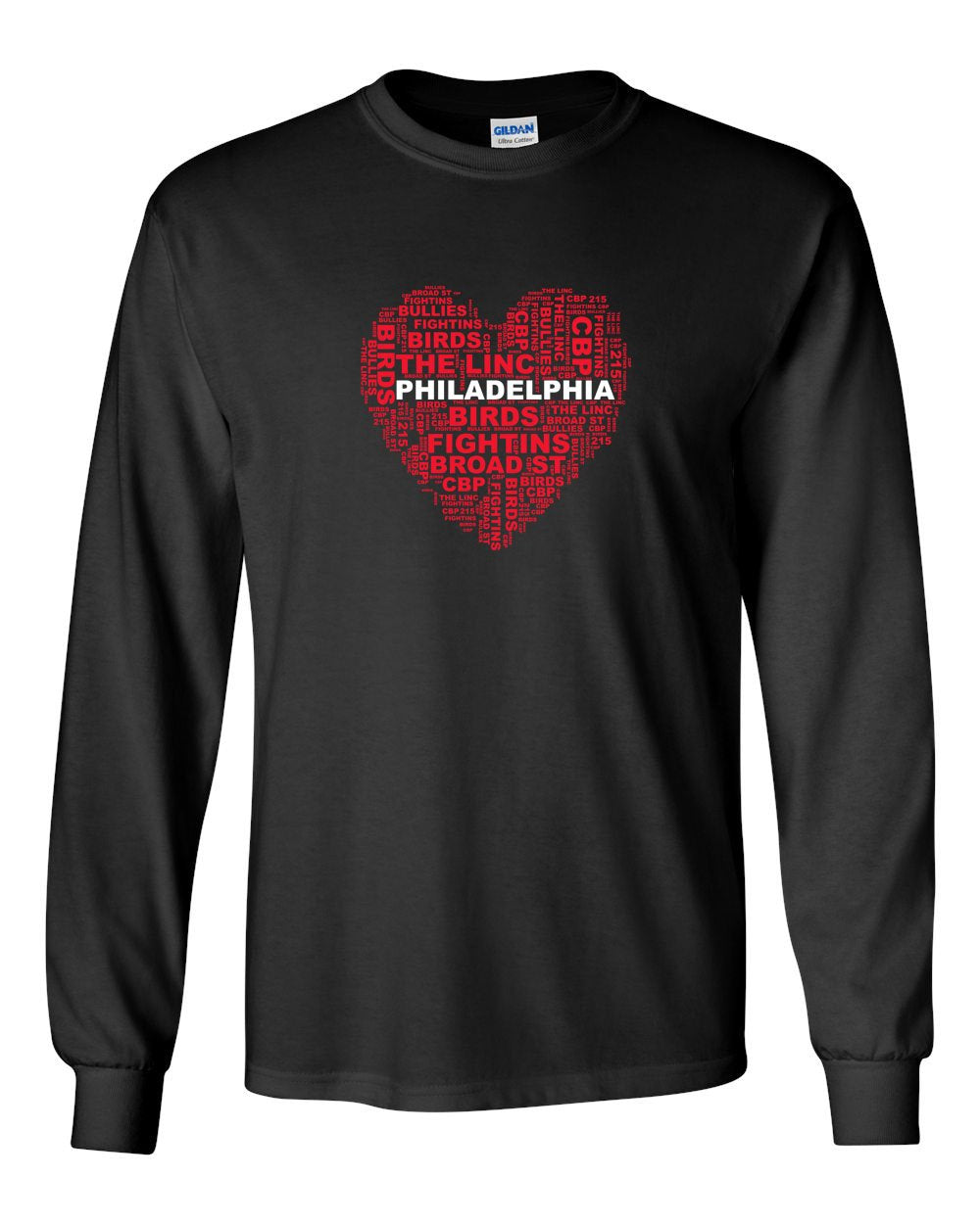 Philly Heart MENS Long Sleeve Heavy Cotton T-Shirt
