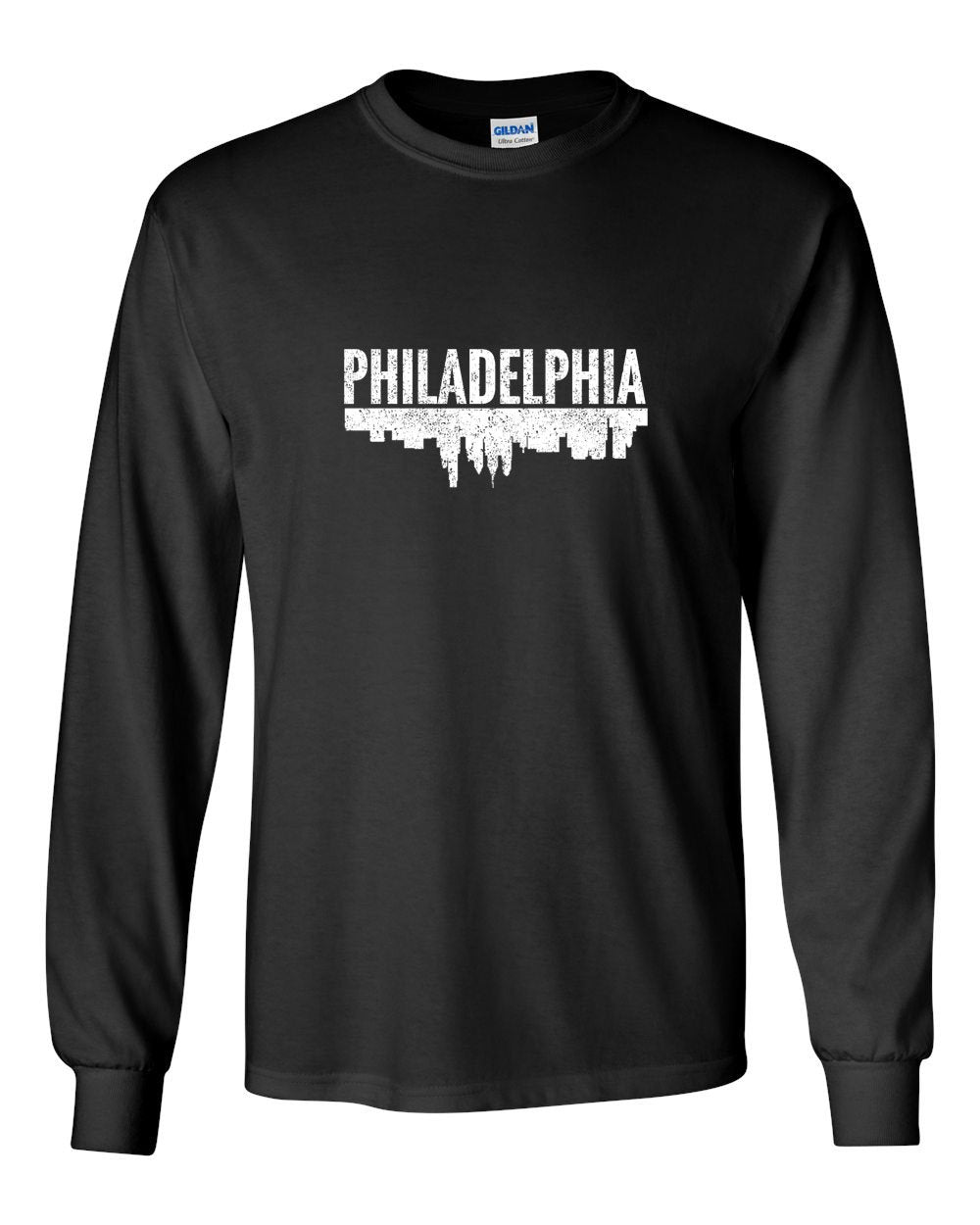 Philadelphia Skyline MENS Long Sleeve Heavy Cotton T-Shirt