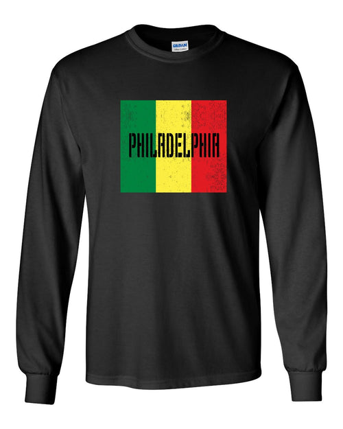 Rasta Philly Flag MENS Long Sleeve Heavy Cotton T-Shirt