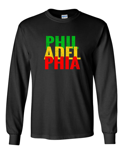 Rasta Philly Letters MENS Long Sleeve Heavy Cotton T-Shirt