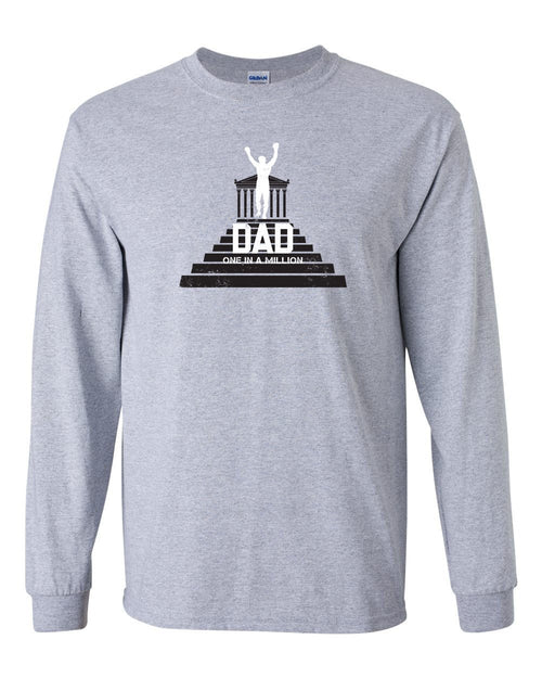 One in a Million Dad MENS Long Sleeve Heavy Cotton T-Shirt