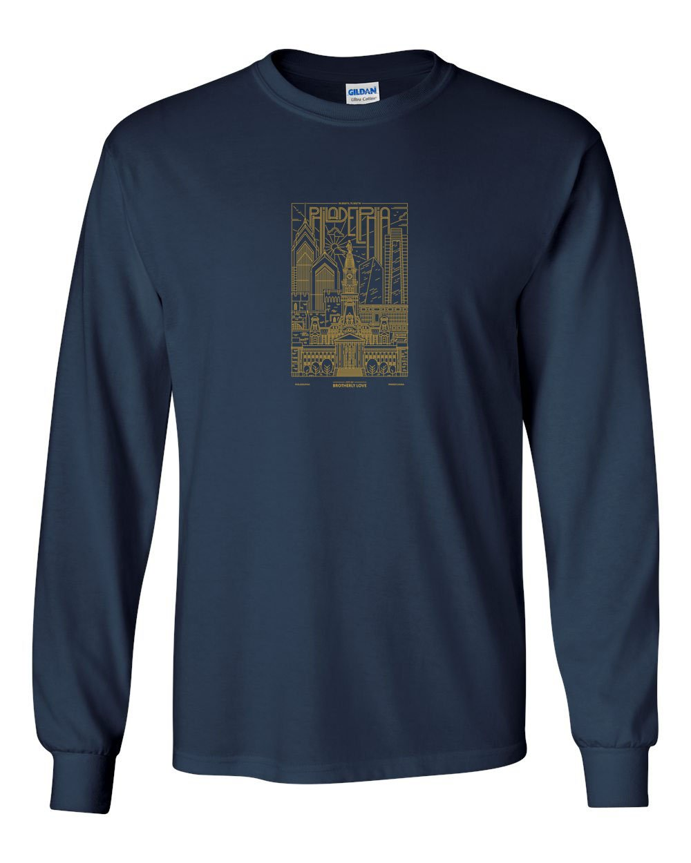 Philadelphia Skyline V2 (Soccer) MENS Long Sleeve Heavy Cotton T-Shirt
