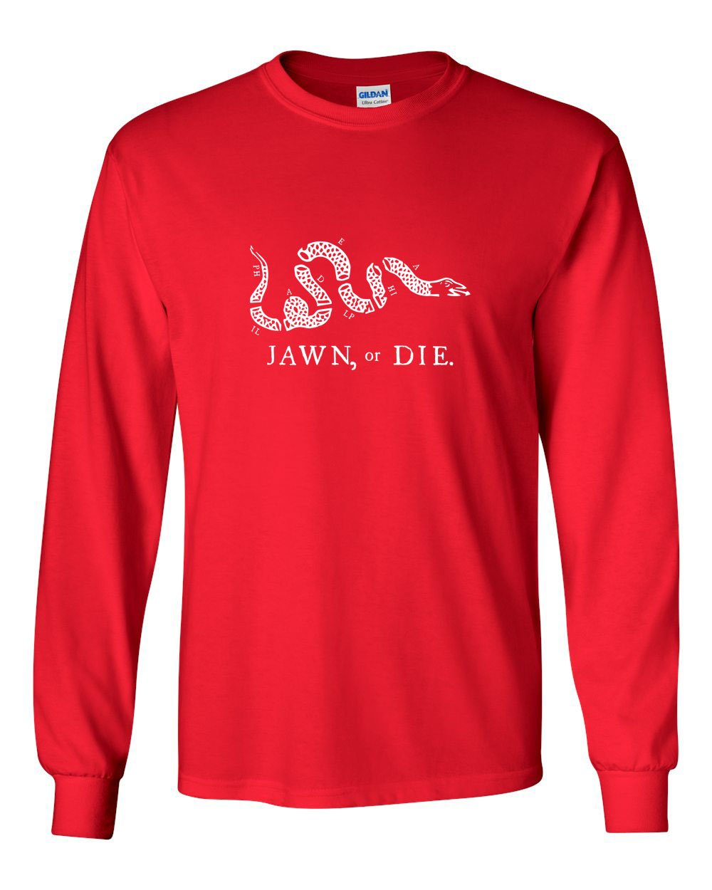 Jawn or Die White Ink (Baseball) MENS Long Sleeve Heavy Cotton T-Shirt