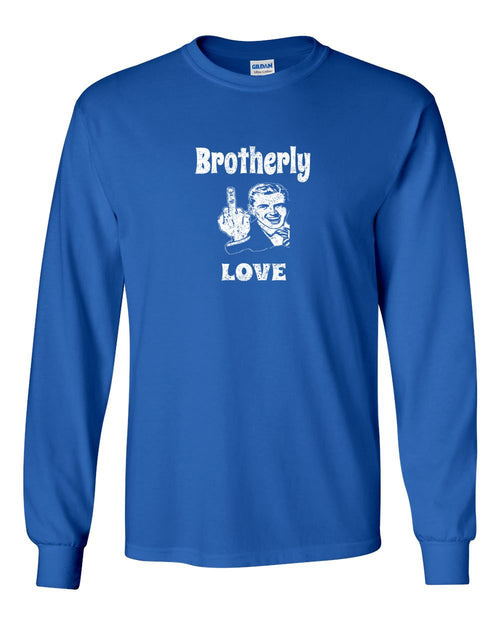 Brotherly Finger White Ink MENS Long Sleeve Heavy Cotton T-Shirt