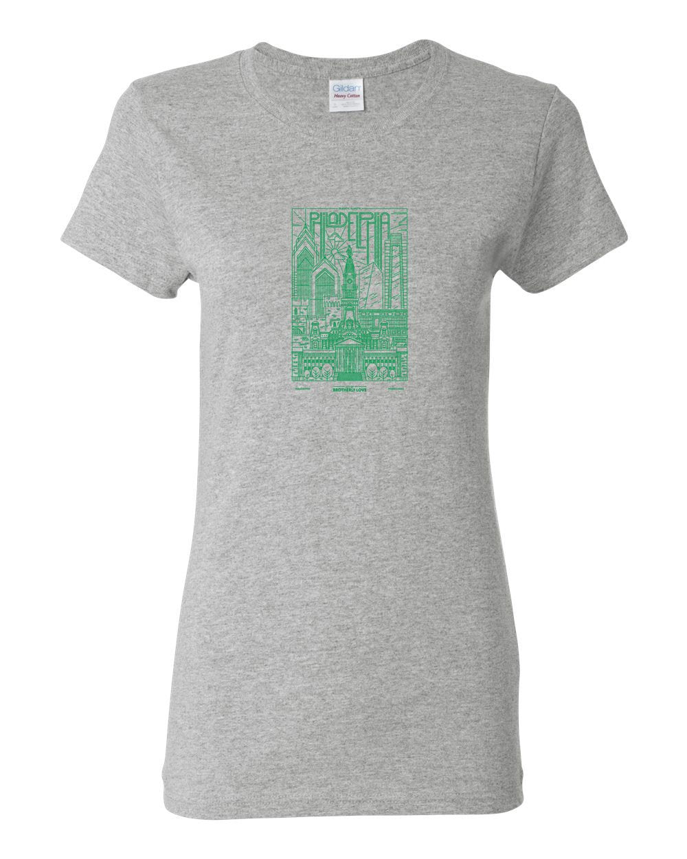 Philadelphia Skyline V2 (Green Ink) LADIES Missy-Fit T-Shirt