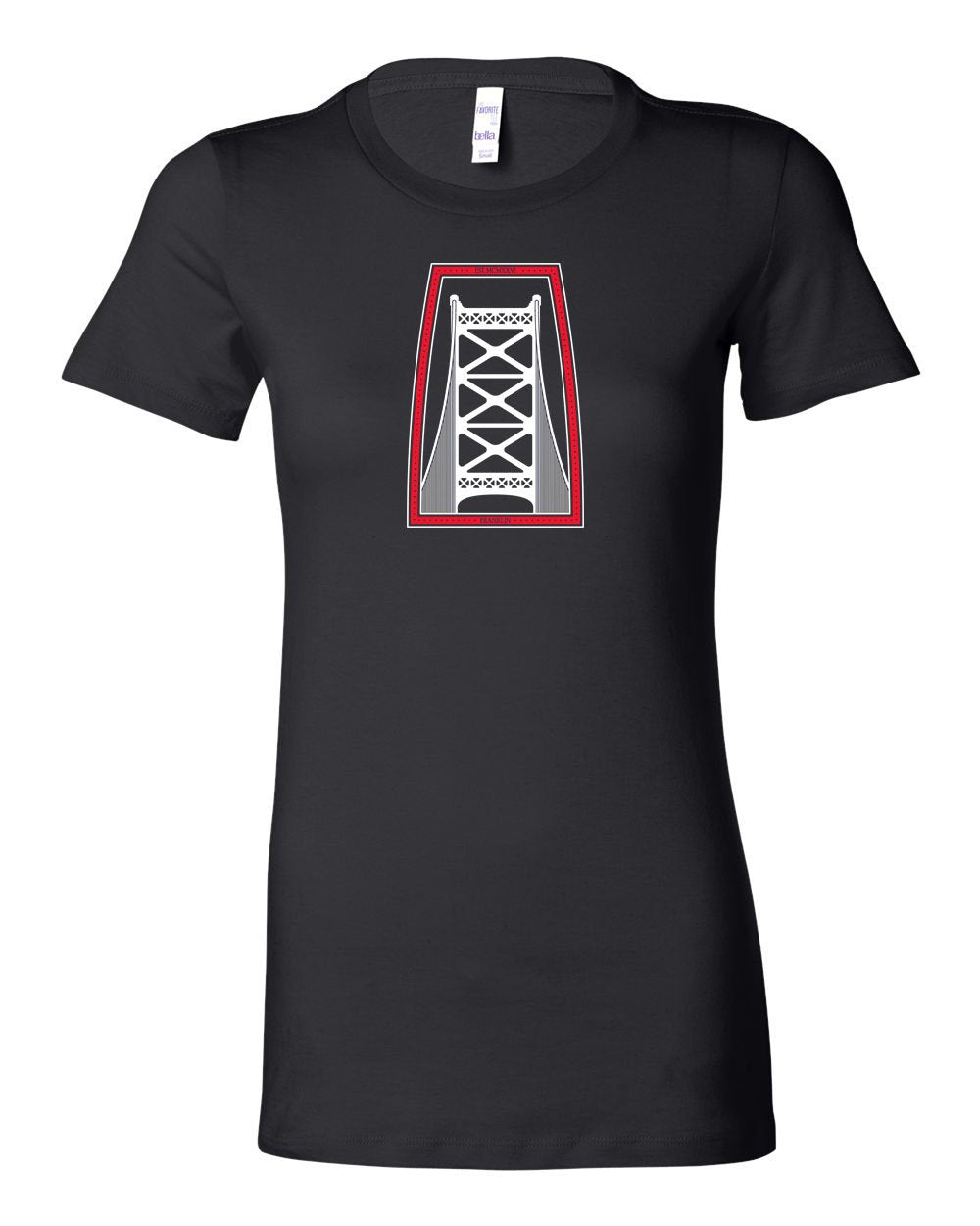Ben Franklin Bridge Red & White Ink LADIES Junior-Fit T-Shirt