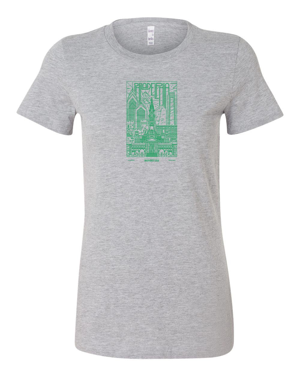 Philadelphia Skyline V2 (Green Ink) LADIES Junior-Fit T-Shirt